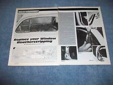 VW Bug Door Window Weatherstripping Replacement How-To Tech Info Article