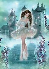 Castle Ballerina Birthday Card for women and girls so delightful in turquoise
