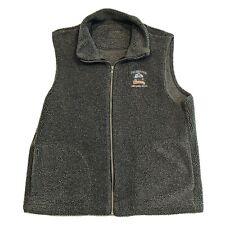 Vintage Shipyard Brewing Chuck Roast Fleece Zip Vest Gray Mens Size Xl Usa Made