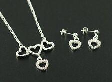 Schmuckset Halskette Ohrstecker Herz 925 Sterling Silber pl Schmuck Set ST06