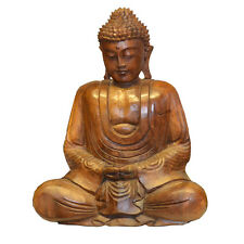 Beautiful Large 40cm Wooden Meditation Buddha Statue Ornament - Fair Trade
