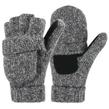 HDE Fingerless Winter Gloves Flipover Insulated Thermal Knit Texting Mittens Gray One Size