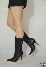 Women Black Smart Mid-Calf Boots Real Leather Soft Zipped Dolcis Size 5