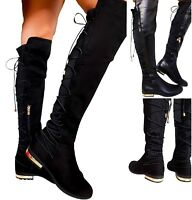 LADIES WOMENS FLAT STRETCHY ELASTIC OVER THE KNEE HIGH LACE UP ZIP BOOTS UK SIZE