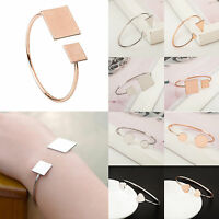 Chic Charm Women Alloy Gold Silver Geometry Bangle Simple Cuff Bracelet Jewelry