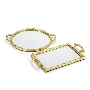 Two's Company Bamboo Mirrored Trays Set Of 2 Asst 2 Designs