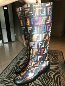 FENDI Zucca Rain Boots 37(US7) Authentic Multi-Color Rubber Wedge