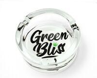 Premium Glass Ashtray - Green Bliss Marijuana Leaf Design