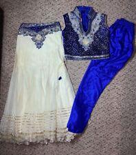 Designer Indian Kids Partywear Lehenga Choli Pajami Set Royal Blue Net Velvet