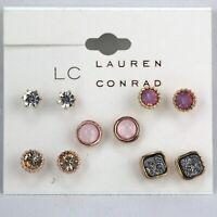 LC Lauren Conrad Earrings 5 Pairs Pink Rhinestone Copper-tone Stud