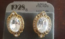 Gorgeous SPARKLE! New Vintage 1928 Oval RHINESTONE Earrings Gold Pierced