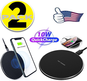 2 Pack QI Wireless Fast Charger Charging Pad for Galaxy S8 S9 S10 S20 S21 iPhone