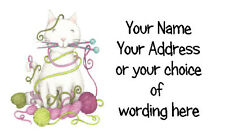 21 X Personalised Address Labels Stickers - Knitting Cat & Yarn - crafts address