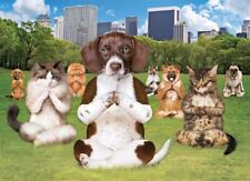 NEW! Eurographics Yoga Park 300 piece extra large dogs cats jigsaw puzzle