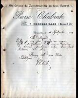 """CHENERAILLES (23) MATERIAUX de CONSTRUCTION """"Pierre CHABRAT"""" en 1912"""