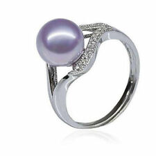 Chic Pearl purple Fashion Women 925 Silver Party Jewelry Lady Ring Gift