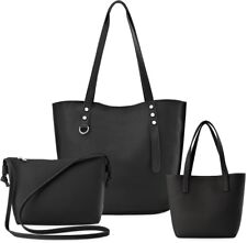Damentaschen 3-er Set Shopper Clutch kleine Handtasche  schwarz