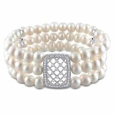 Sterling Silver 3 Strand Freshwater Pearl Cubic Zirconia Stretch Bracelet 6-7 mm