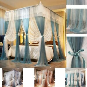 luxury 4 Corner Palace Double Net Bed Netting Canopy Mosquito Princess Curtain