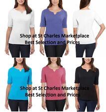 Ellen Tracy V-Neck Pima Cotton / Lycra Womens V-Neck Cuff Sleeves Shirt, NWT!