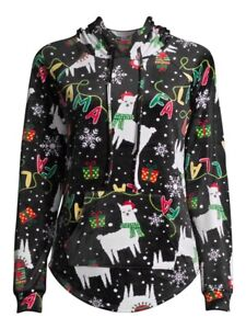 Llama Plush Christmas Hoodie Juniors Sizes No Boundaries NEW