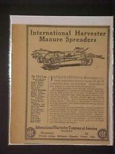 RARE OLD FARM~IH Harvester Manure Spreader ART PAPER PRINT AD~ ORIG ANTIQUE 1914