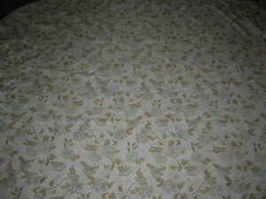 Cream green floral shabby chic style floral woven large fringed bedspread throw
