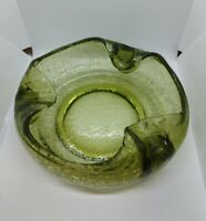 Vintage 1960's MCM Round Heavy Large Green Crackled Glass Ashtray Olive Green