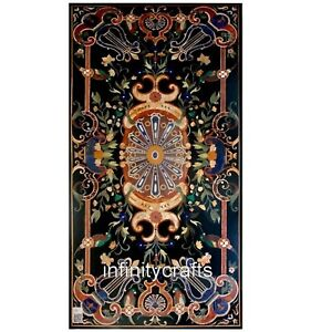 36 x 72 Inches Black Marble Dining Table Top Pietra Dura Art meeting Table