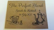10 x Personalised Wedding envelopes The Perfect Blend for tea bag favours. Brown