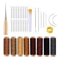 38 Stück Leder Hand Nähen Bastelwerkzeuge mit Nadeln Wachsgewinde Ahle für