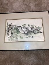 Vintage Scetch Watercolor Signed Mansion Garden California