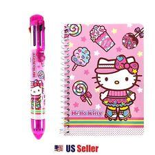 Sanrio Hello Kitty Spiral Mini Notebook, 8 Colors Ballpoint Pen : Roller Skating