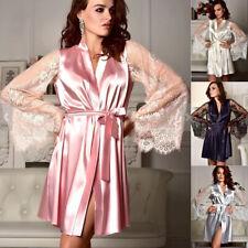 Ladies Satin Long Nightdress Sexy Silk Lace Lingerie Nightgown Sleepwear Robe