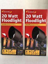 Malibu 20 Watt Floodlight Landscape Lighting Metal Black Lot of 2