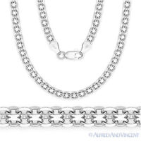 Solid .925 Sterling Silver Bismark 4.1mm Men's Link Chain Necklace Italy Italian