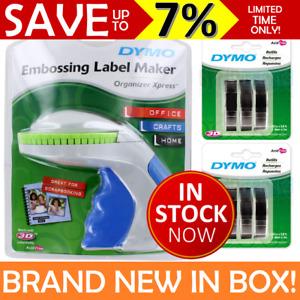 NEW DYMO Embossing Label Maker Labeller Organiser Xpress + 6 Black Tape Refills