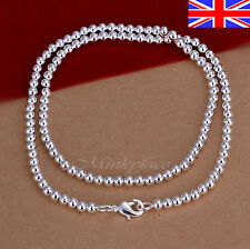 925 Sterling Silver Bead Necklace 4mm Ball 20 Inch Ladies Girls Gift Bag