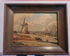 Vintage Dutch Print, Franklin Picture Frame Co., 2 Horse Team Plowing, Windmill