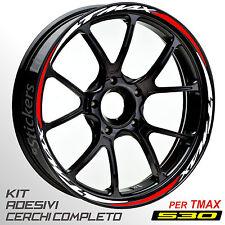 Adesivi cerchi ruote TMAX 530 set profili BIANCO - ROSSO T MAX wheel R.5s