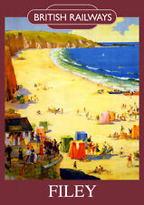 Filey Vintage British Railways Poster (repro) - Seaside / Landmark A4