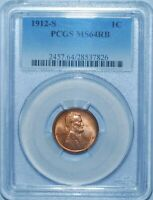 1912 S PCGS MS64RB Red and Brown Lincoln Wheat Cent Penny