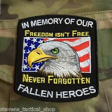 """In Memory of Our Fallen Heroes """"Freedom Isn't Free"""" Military Patch"""