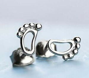 925 Sterling Silver Cute Foot Women Kids Girls Stud Earrings Jewelry Gfit