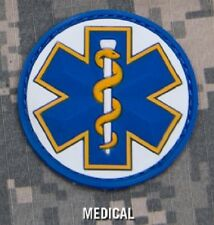 EMT STAR 3D PVC US EMS MEDIC TACTICAL WHITE MEDICAL VELCRO® BRAND FASTENER PATCH