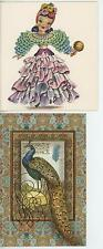 VINTAGE BEAUTIFUL WOMAN LATINO LATIN RUFFLES DRESS RUMBA CARD PRINT & 1 PEACOCK