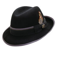 STACY ADAMS * BLACK WOOL FEDORA HAT 1 XL ** MEN CRUSHABLE LINED TRILBY GODFATHER