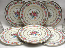 "SET of SIX (6) NORITAKE CHINA - DRESDEN FLOWERS - 12"" DINNER SERVICE PLATES"