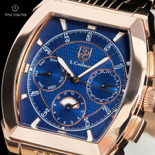 S. Coifman Men's Day/Night 18kt Rose Gold Plated Blue Dial S.S. Bracelet Watch
