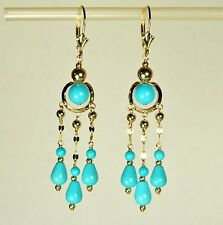 14k solid yellow gold Circle Dangle/Drop Sky Blue Turquoise earrings leverback